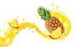 canvas print picture - Fresh ripe pineapple, slice and pineapple juice 3D splash wave. Healthy food or tropical fruit drink liquid ad label design. Tasty pineapple juice or smoothie splash isolated, vitamin cocktail concept