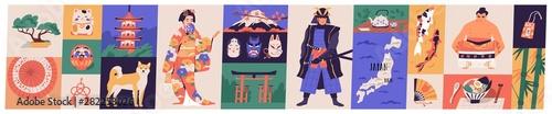 Photographie Bundle of traditional symbols of Japan - pagoda, geisha in kimono, koi fish, wagasa umbrella, bonsai tree, mount Fuji, maneki-neko