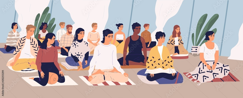 Fototapeta Group of young men and women sitting on floor, meditating and performing breath control exercise. Yoga retreat, spiritual practice, Vipassana buddhist meditation. Flat cartoon vector illustration.