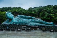 Reclining Buddha Statue At Nanzoin Temple In Sasaguri, Fukuoka Prefecture, Japan