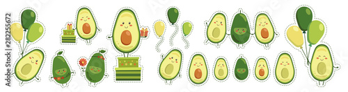Leinwand Poster Big sticker set of vector cute smiling avocado heroes isolated on white background