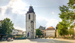 canvas print picture - Kirchplatz mit Kirchturm, Giessen, Deutschland