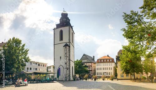 Canvastavla Kirchplatz mit Kirchturm, Giessen, Deutschland