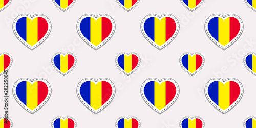 Romania Flags Background Vector Stickers Love Hearts