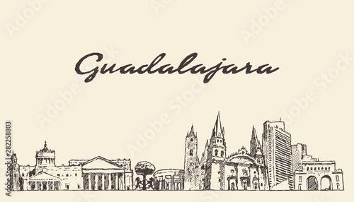Guadalajara skyline Jalisco Mexico a vector sketch