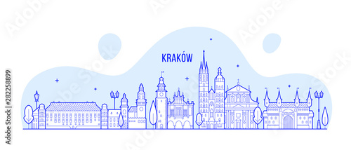 Fototapeta Krakow skyline Poland city buildings vector linear obraz