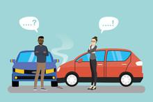 Car Crash Cartoon Banner.Car Accident Concept,two Unhappy People,