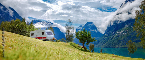 Poster Camping Family vacation travel RV, holiday trip in motorhome