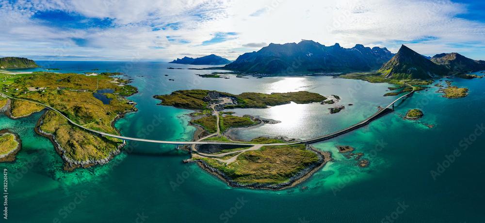 Fototapety, obrazy: Fredvang Bridges Panorama Lofoten islands