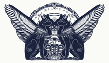 Ancient Egypt Tattoo. Two Winged Black Cats, Sacred Eye Of God Horus And Star Gate. Egyptian Art, Occult T-shirt Design
