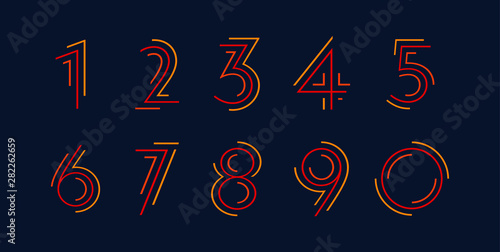 Obraz na płótnie Number set vector font alphabet, modern dynamic flat design with brilliant color