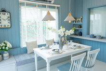 Cozy Beach Blue Dining Room At Home