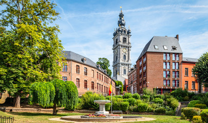 Mons, Wallonia, Belgium. Panoramic landscape view with belfry tower in city centre.