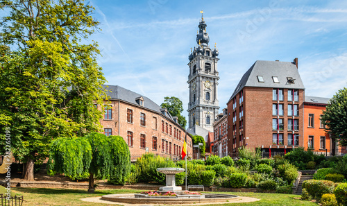 Foto op Plexiglas Oude gebouw Mons, Wallonia, Belgium. Panoramic landscape view with belfry tower in city centre.