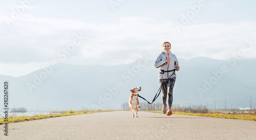 Poster Jogging Bright sunny Morning Canicross exercises. Female runs with his beagle dog and happy smiling.