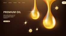 Essential Oil Landing Page. Vector Shine Flowing Drops Web Banner. Premium Oil, Petrol Banner Template. Illustration Of Petrol Realistic Oil, Liquid Droplet