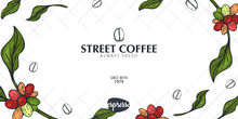 Coffee Sketch Banner With Coff...