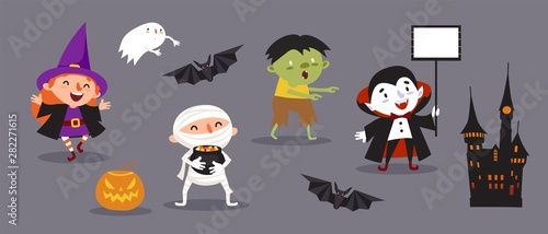 Happy Halloween, a set of cute characters for your festive design Wallpaper Mural