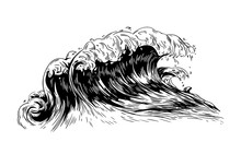 Monochrome Drawing Of Sea Or O...