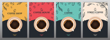 Cup Of Coffee. Set Of Sketch Banners With Coffee Beans And Leaves On Colorful Background For Poster Or Another Template Design.