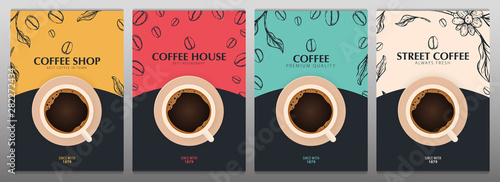 Cup of Coffee. Set of Sketch banners with coffee beans and leaves on colorful background for poster or another template design. - 282272434