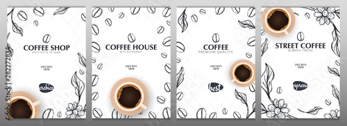 Cup of Coffee. Set of Sketch banners with coffee beans and leaves for poster or another template design. - 282272834