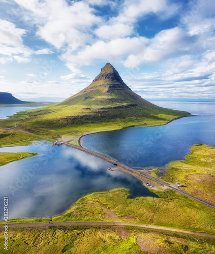 Foto auf Leinwand Himmelblau Iceland. Aerial view on the mountain and ocean. Landscape in the Iceland at the day time. Famous place in Iceland. Landscape from drone. Travel - image