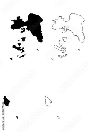 Photo Attica Region (Greece, Hellenic Republic, Hellas) map vector illustration, scrib