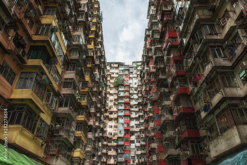 Crowded apartment buildings in Hong Kong Fototapet