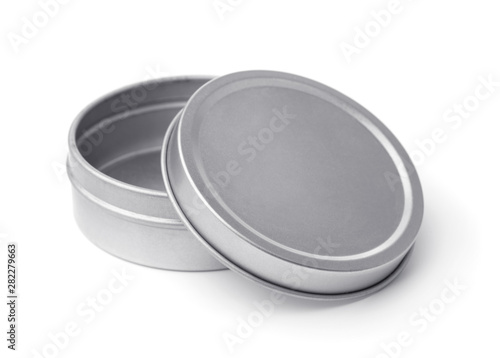 Photo  Open empty metal round container