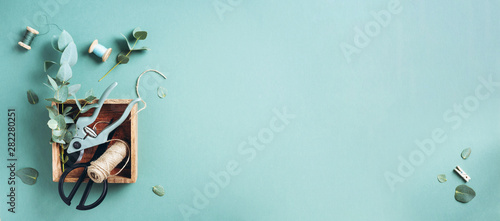 Eucalyptus branches and leaves, garden pruner, scissors, wooden boxes over green background with copy space Fotobehang