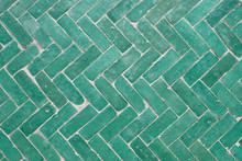 Arabic Green Herringbone Tile ...