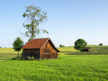 Wood Storage For Tools In The Countryside Of Germany. Hilly Environment. Green And Natural Contest