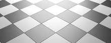 Checkered Interior Flooring Pattern, Banner, Empty Template. 3d Illustration