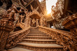 Leinwanddruck Bild - The Sanctuary of Truth Museum is a gigantic all wood construction located at the relaxing Rachvate cape of Naklua Pattaya City.
