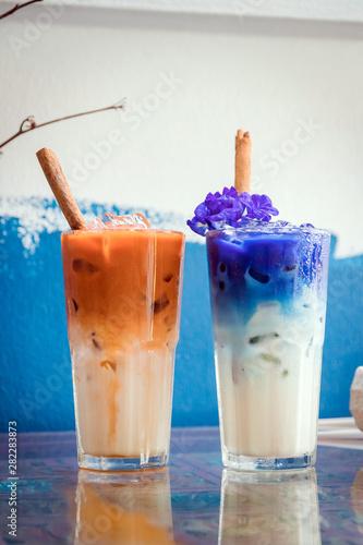 Iced Milk Tea And Erfly Pea Latte With Cinnamon Stick On
