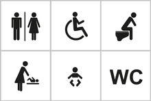 Set Of WC Icons Gender Male Female Baby Change Handicapped Toilet Isolated On A White Background Pictogram Vector Illustration EPS10
