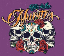 Mexican Day Of Dead Colorful Print