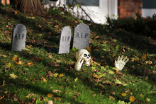Halloween Outdoor Decoration Front Yard Of Private House Decorated By Fake Skull, Bones Hands And Tombstones Between Foliage On Green Grass Lawn For An Old American Trick-or-treat Halloween Tradition.