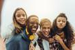 canvas print picture - Teenage friends having fun taking a selfie