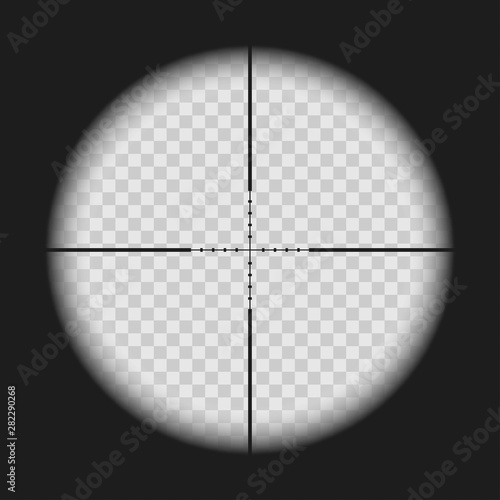Fotografía  Realistic sniper sight with measurement marks isolated on transparent background
