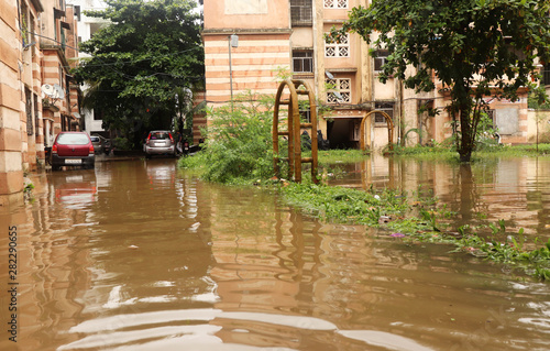 Residential area under flood water Wallpaper Mural