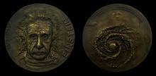 Galileo Galilei And Black Hole Portrait On Commemorative Coins In Gold (unknown Source)  German Born Theoretical Physicist Regarded As The Father Of Modern Physics. Famous Scientist Of Relativity