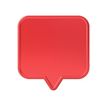 Blank Red Social Media Notification Speech Bubble Pin Isolated On White Background 3D Rendering