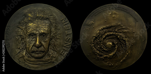 Galileo Galilei and Black hole portrait on commemorative coins in gold (unknown source)  German born theoretical physicist regarded as the father of modern physics Canvas Print