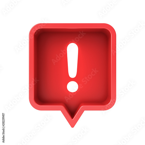 3d social media notification neon light Exclamation mark icon in red rounded square pin isolated over white background 3D rendering