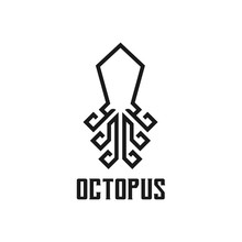 Abstract Elegant Octopus Logo Design Vector Template Linear Style. Fashion, Jewelry, Seafood Restaurant Logotype Vintage Concept Outline Icon