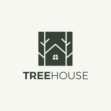 Tree And House Logo Vector In Isolated White Background