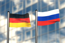 3d Render Of An Flag Of Germany And Russia, In Front Of An Blurry Background, With A Steel Flagpole