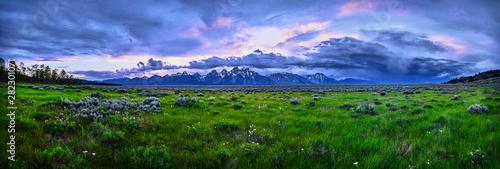 Fotografija Panoramic image of a thunderstorm over the Grand Teton mountain range